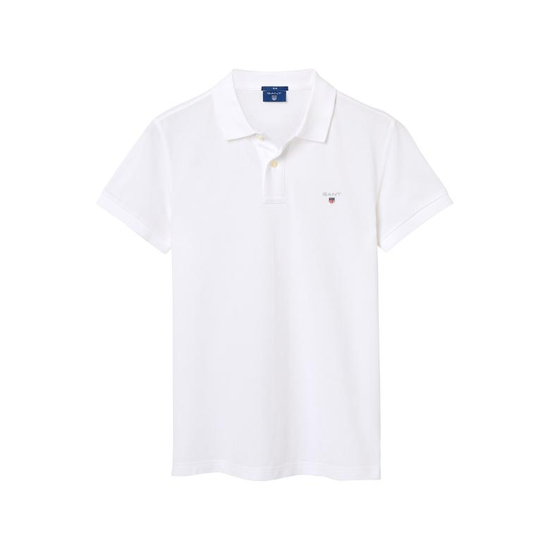 Gant Erkek Beyaz Slim Fit Piqué Polo