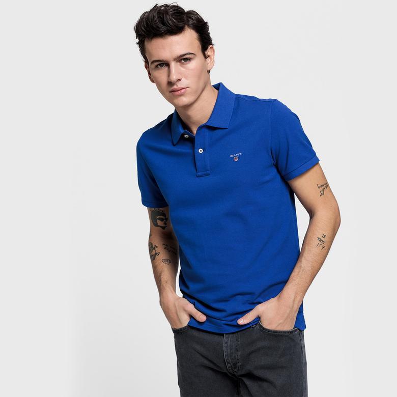Gant Erkek Mavi Regular Fit Piqué Polo