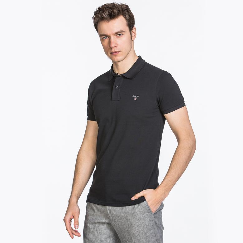 Gant Erkek Siyah Slim Fit Piqué Polo