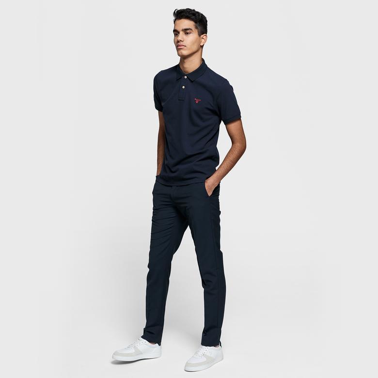 GANT Erkek Lacivert Kontrast Yaka Pique Rugger Regular Fit Polo