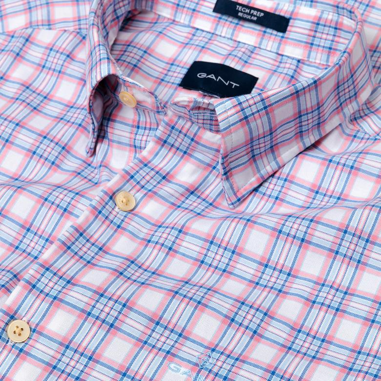 Gant Erkek Pembe Regular Fit Tech Prep Oxford Plaid Gömlek