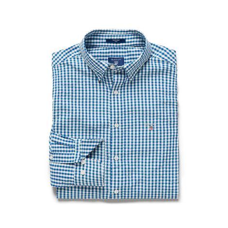 Gant Erkek Mavi-Beyaz Kareli Slim Fit Gömlek