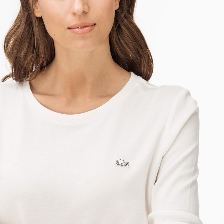 Lacoste Kadın Krem Bisiklet Yaka T-Shirt