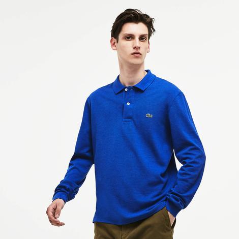Lacoste Erkek Mavi Uzun Kollu Klasik Fit Polo