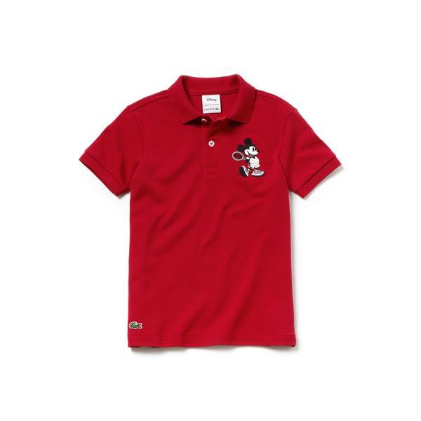 Lacoste x Disney Mickey İşlemeli Çocuk Kırmızı Polo