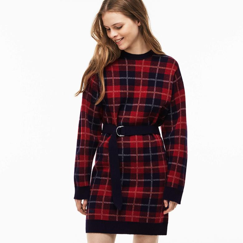 Lacoste Kadın Lacivert-Kırmızı Elbise
