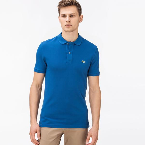 Lacoste Erkek Slim Fit Mavi Kısa Kollu Polo