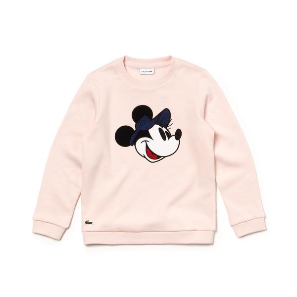 Lacoste X Disney Çocuk Mickey Baskılı Pembe Sweatshirt
