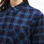 Lacoste Kadın Mavi Ekose Gömlek
