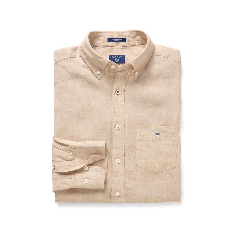 Gant Erkek Bej Regular Keten Gömlek
