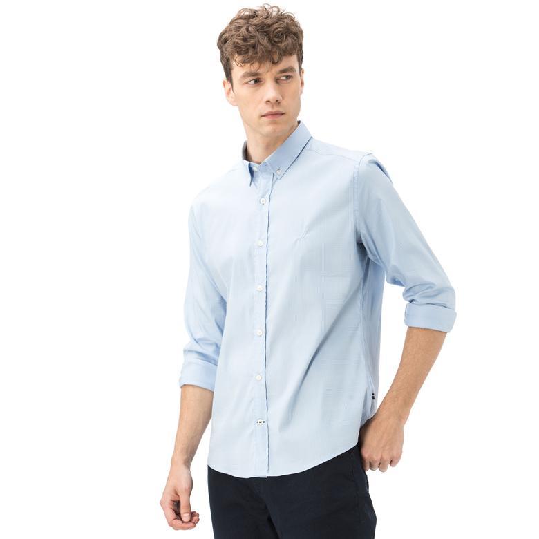 Nautica Erkek Slim Fit Armürlü Mavi Gömlek