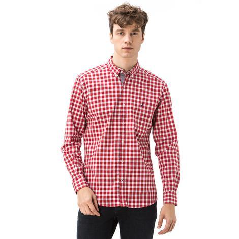 Nautica Erkek Slim Fit Düz Kırmızı Ekoseli Gömlek