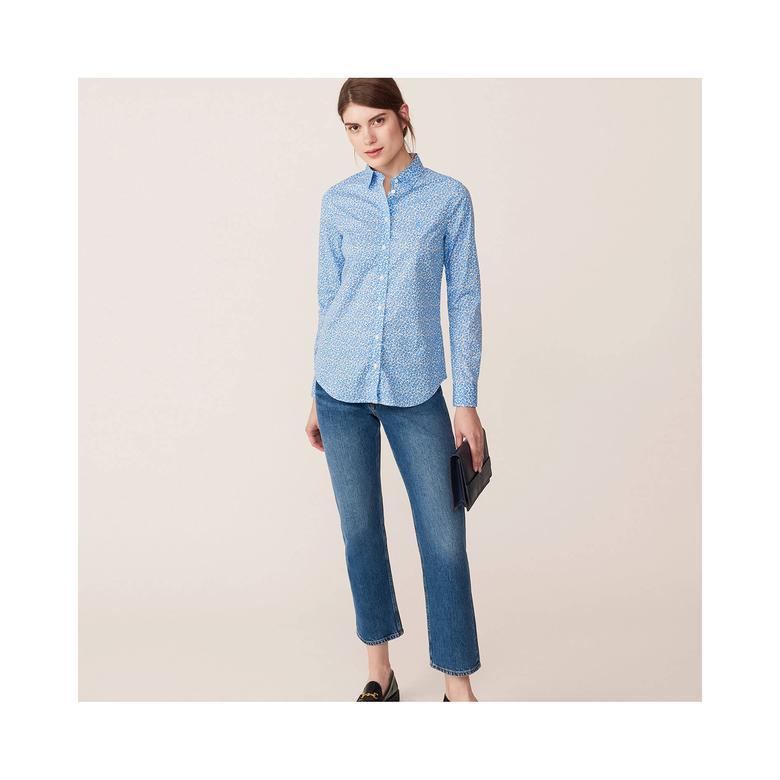 Gant Kadın Mavi Broadcloth Desenli Regular Fit Gömlek