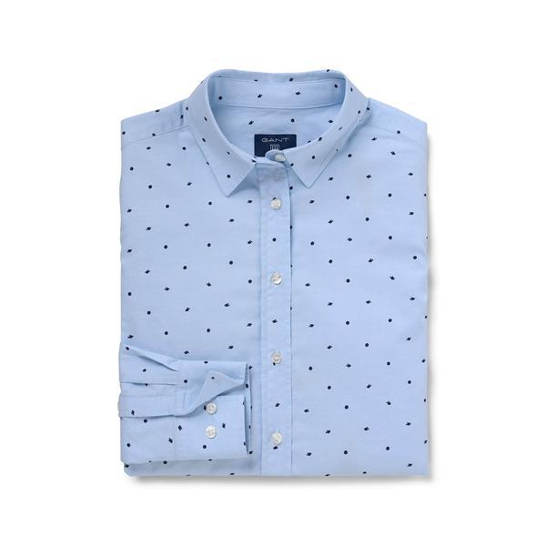 Gant Kadın Mavi Oxford Puantiyeli Regular Fit Gömlek