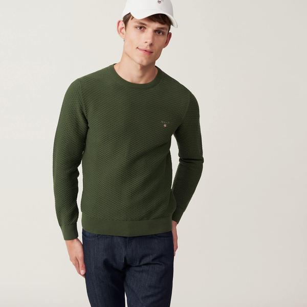 Gant Erkek Yeşil Desenli Regular Triko