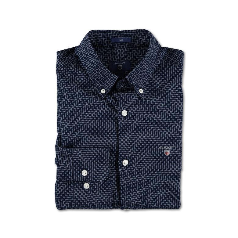 Gant Erkek Lacivert Desenli Oxford Slim Fit Gömlek