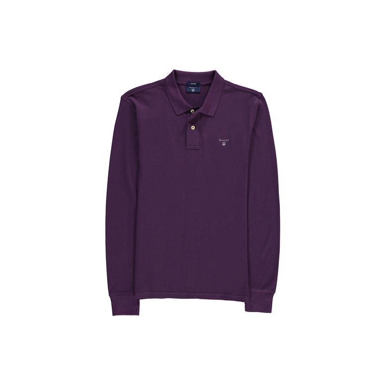 Gant Erkek Mor Uzun Kollu Regular Pique Polo