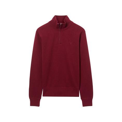 Erkek Kırmızı Sack Rib Half Zip Sweatshirt