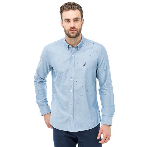 Nautica Erkek Slim Fit Baskılı Mavi Gömlek