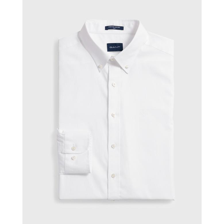Gant Pinpoint Oxford Erkek Beyaz Slim Fit Gömlek