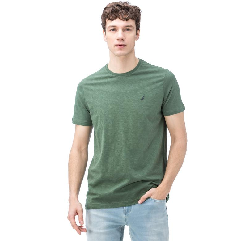 Nautica Erkek Yeşil Kısa Kollu Bisiklet Yaka Flamlı Slim Fit T-Shirt