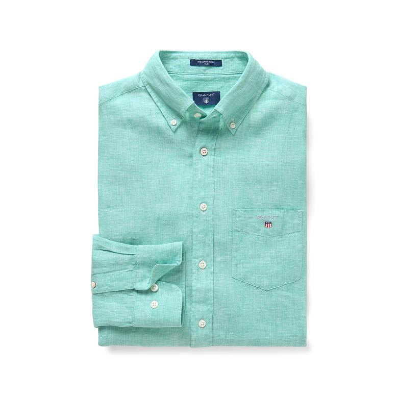 Gant Erkek Yeşil Slim Keten Gömlek