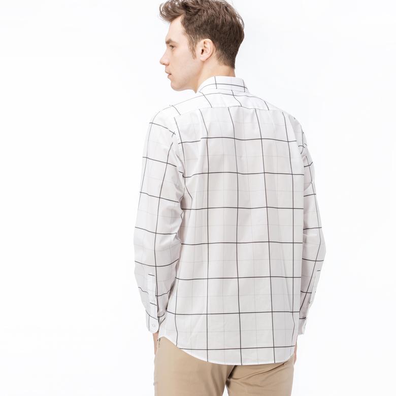 Lacoste Erkek Regular Fit Beyaz Gri Çizgili Gömlek