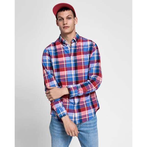GANT Erkek Kırmızı Kareli Regular Fit Madras Gömlek