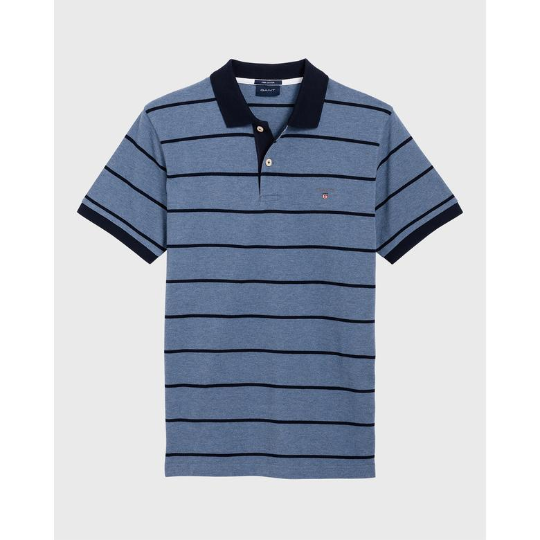 Gant Erkek Mavi Regular Fit Çizgili Piqué Rugger Polo