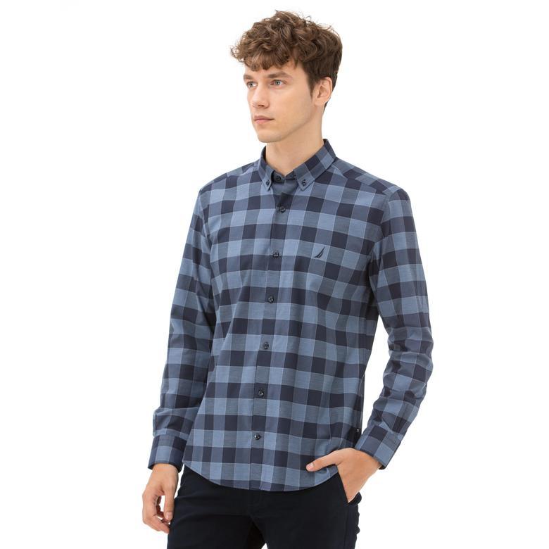 Nautica Erkek Slim Fit Kırışmayan Mavi Ekoseli Gömlek