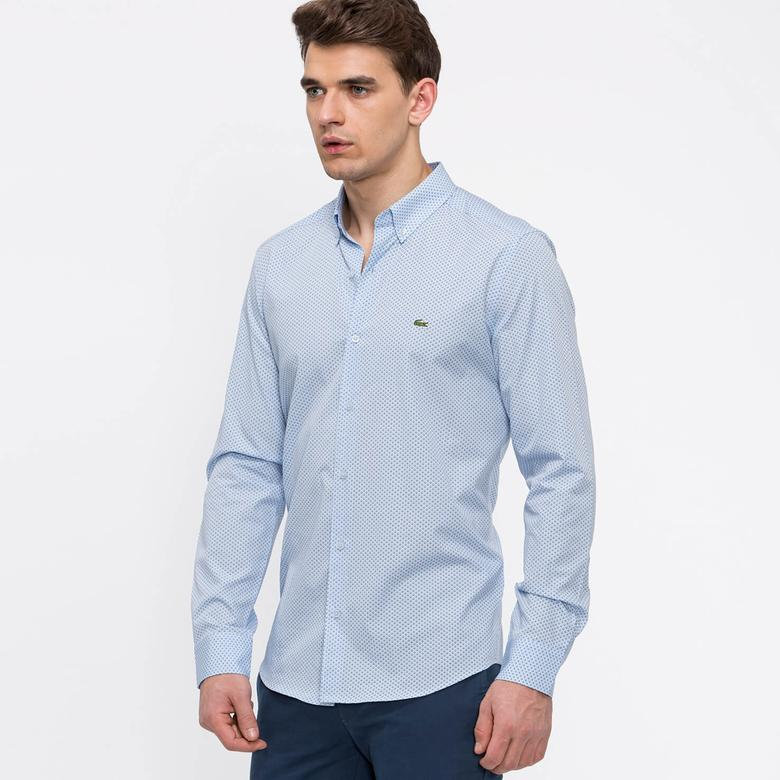 Lacoste Erkek Uzun Kollu Mavi Slim Fit Gömlek