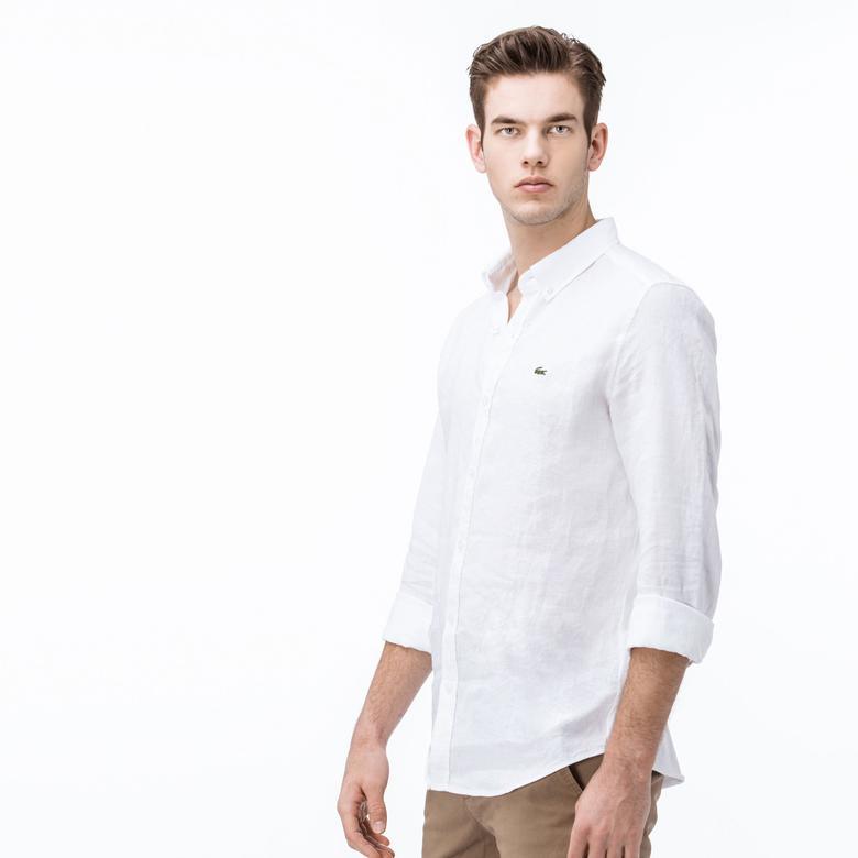 Lacoste Erkek Uzun Kollu Arkası Pamuklu Kumaş Beyaz Slim Fit Gömlek