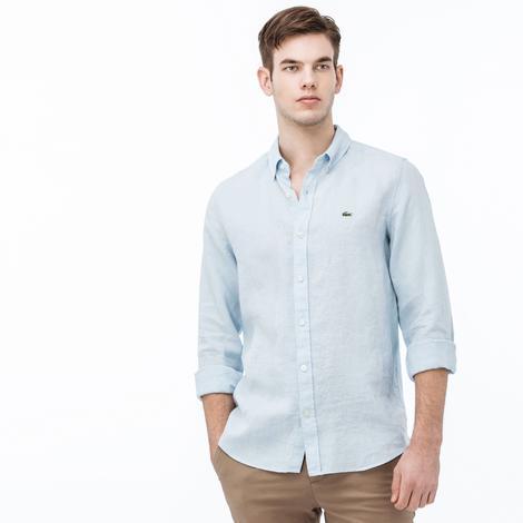 Lacoste Erkek Uzun Kollu Arkası Pamuklu Kumaş Mavi Slim Fit Gömlek