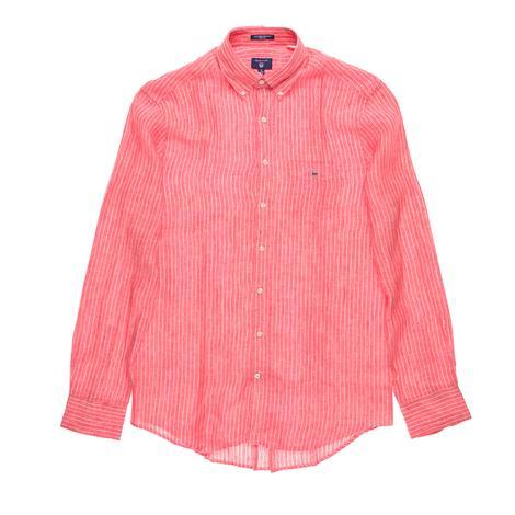 Gant Erkek Kırmızı Çizgili Regular Keten Gömlek
