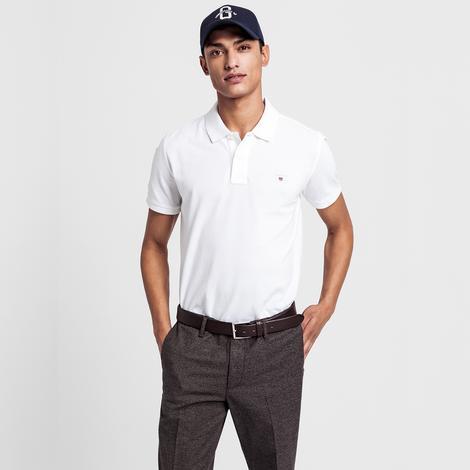 Gant Erkek Beyaz Regular Fit Piqué Polo