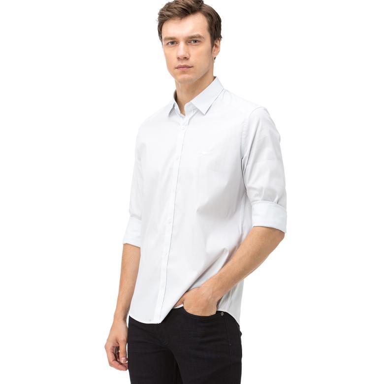 Lacoste Erkek Slim Fit Beyaz Mavi Çizgili Gömlek