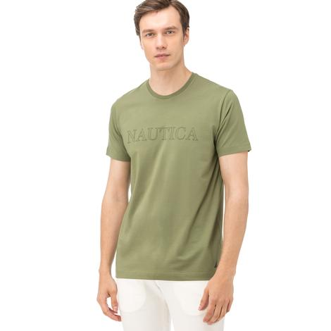 Nautica Erkek Yeşil Bisiklet Yaka Kısa Kollu Slim Fit T-Shirt