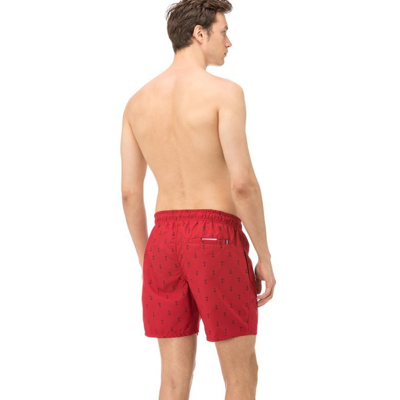 Nautica Erkek Kırmızı Uzun Çapa Desenli Mayoşort