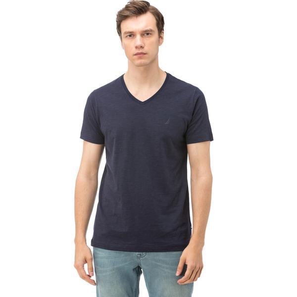 Nautica Erkek Lacivert Kısa Kollu V Yaka Flamlı Slim Fit T-Shirt