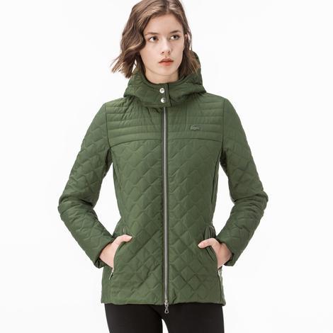 Lacoste Kadın Yeşil Kapitone Kapüşonlu Mont