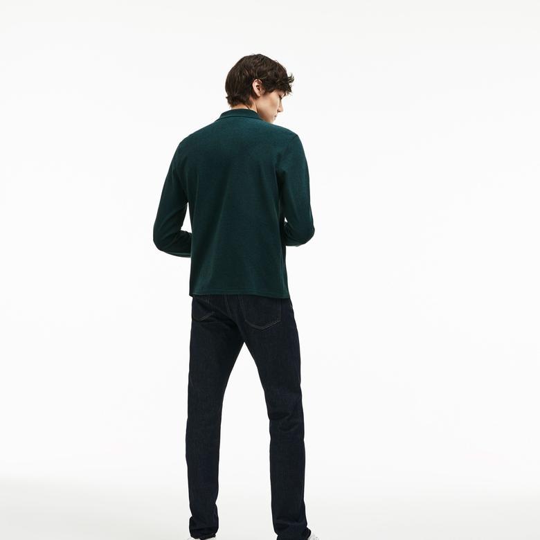 Lacoste Erkek Klasik Fit Yeşil Uzun Kollu Polo
