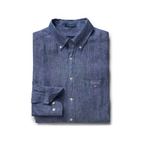 Gant Erkek Regular Fit Mavi Keten Gömlek