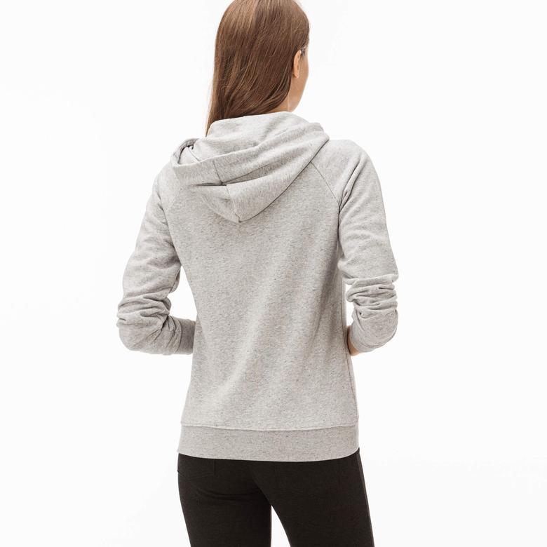 Lacoste Kadın Gri Kapüşonlu Sweatshirt
