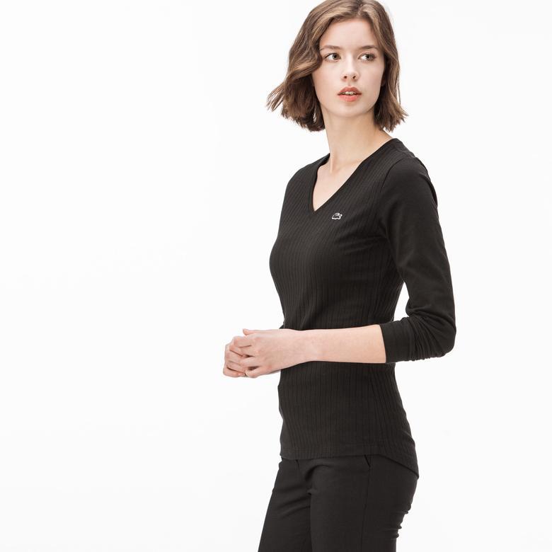 Lacoste Kadın Siyah V Yaka T-Shirt