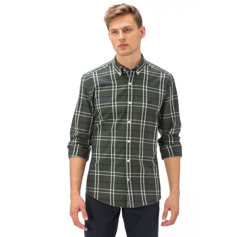 Nautica Erkek Slim Fit Yeşil Ekoseli Gömlek