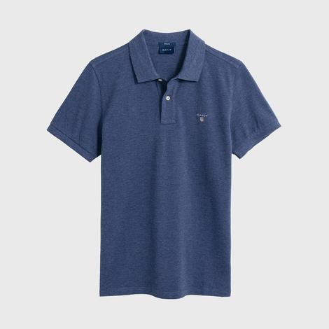 Gant Erkek Koyu Mavi Melanj Regular Fit Piqué Polo