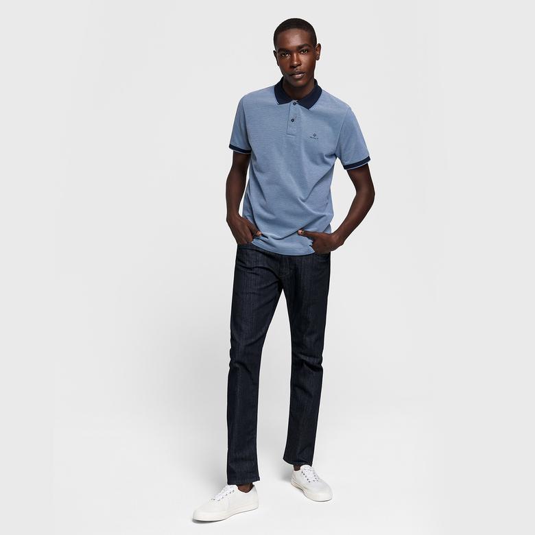 Gant Erkek Mavi Regular Fit Piqué Rugger Polo