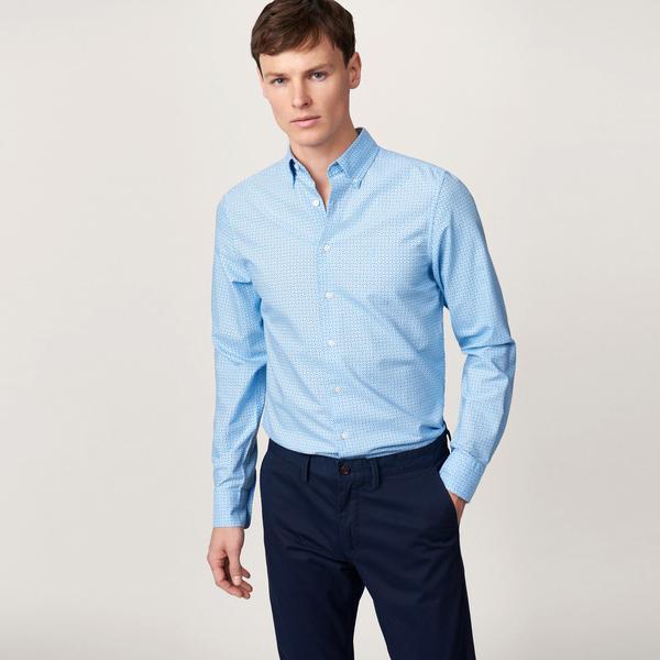 Gant Erkek Slim Fit Mavi Puantiyeli Gömlek