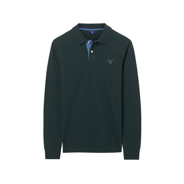 Gant Erkek Yeşil Uzun Kollu Pique Regular Polo
