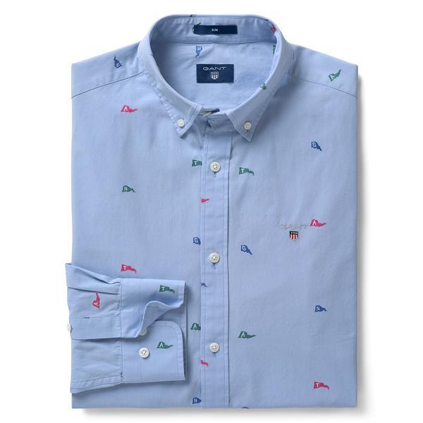 Gant Erkek Slim Fit Mavi Gömlek